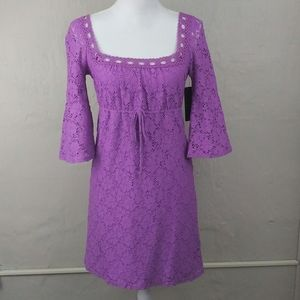 laundry By Shelli Segal Purple Lace Empire Dress